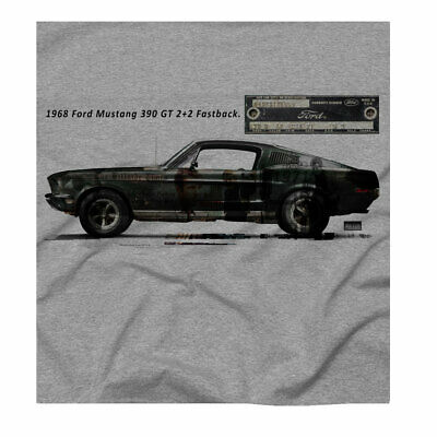 Men's Mustang Classic Car Shirt GT Fastback Bullitt Movie McQueen Grey T-Shirt