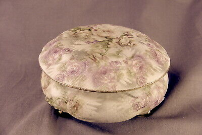 Royal Bayreuth Rose Tapestry Victorian Daisy 3 Legged Powder ~ Dresser Box 4.25""