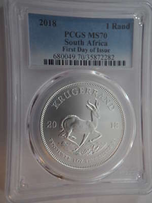 2018 South Africa Silver Krugerrand First Day of Issue MS 70 PCGS - SKU 750G