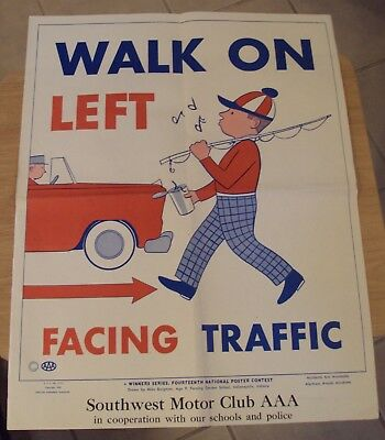 "VTG 1959 Motor Club AAA Poster~""WALK on LEFT FACING TRAFFIC""~"