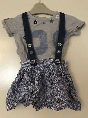Next Girls Outfit 1.5-2 Years 18-24 Months Top And Braces Shorts