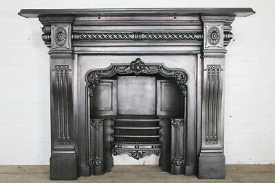 Original Late 19th Century Victorian cast iron fireplace surround