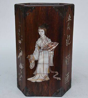 """11"""" Chinese rosewood Wood Inlay Shell Belle Beauty Brush Pot pencil Holder vase"""