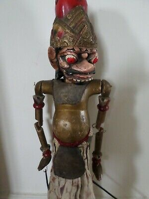 Large vintage wooden Indonesian Wayang style puppet - possibly a god