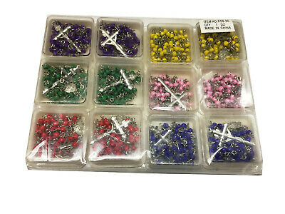 Lots of 12 pieces rosary necklace 24'' long 6 colors