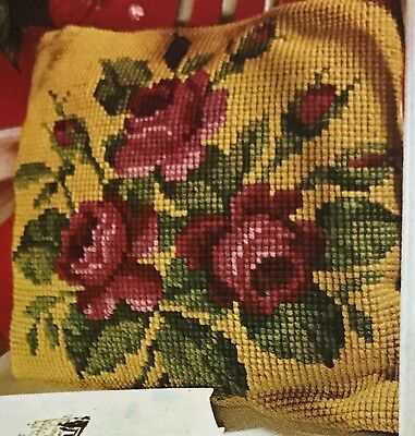 Vtg Lion Brand Needlepoint Pillow Kit w/ WOOL Yarn ROSE Floral Roses Complete!