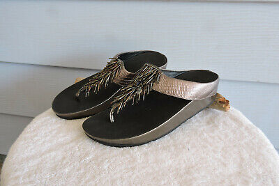 aa648ba96bc1 Fitflop Cha Cha Nimbus Fringe Beaded Pewter Silver Comfort Sandals Size 9
