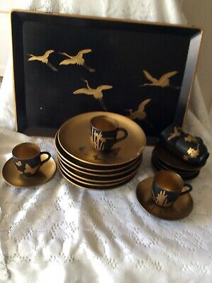 Vintage JAPANESE LACQUER WARE Black Teaset And Tray