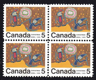 1970 Canada SC# 522pi Christmas Block of 4-it has pii in lower right  #A1 M-NH