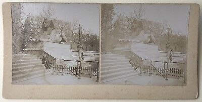 Paris ? Statue The Sphinx Photo Stereo Vintage Citrate c1895