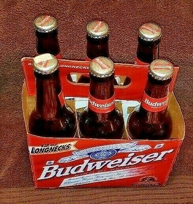Budweiser Six Pack 12 oz Beer Bottles (1999) W/Twin Towers New York Skyline Used