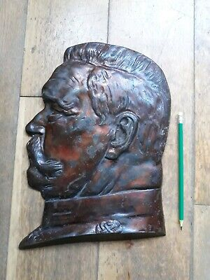 Cast Iron Russian Stalin Wall Plaque Relief Fire mount very rare Heavy world war