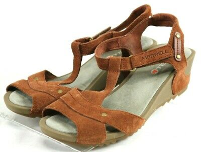 fce8562c0fd5 Merrell Revalli Link  90 Women s Excellent Wedge Sandals Size 8 Leather  Brown