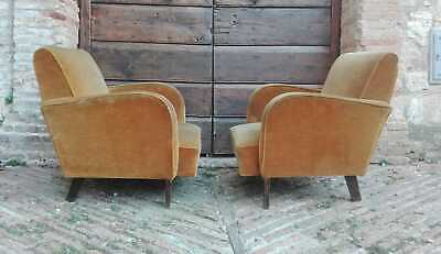 Pair of Art Deco Armchairs 1930s 1940s Club Chairs Italian
