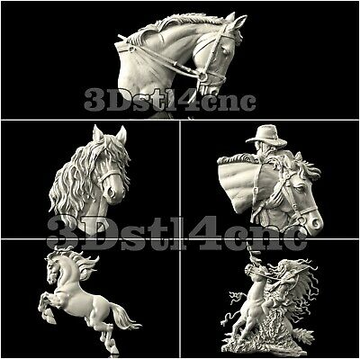 5 3D STL Models Horses Head set for CNC Router Carving Machine Artcam aspire