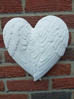 Ornate Cherub Angel Wings Heart Rubber Latex Mould Mold Wall Decor Plaque Large