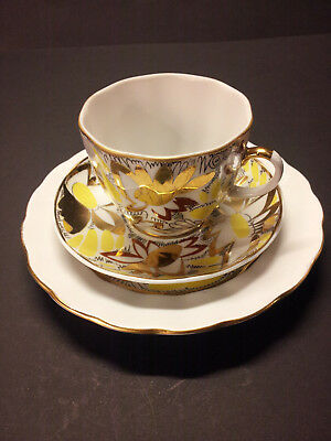 3-teiliges Kaffee-Gedeck Lomonosov Golden Garden / Daisy Made in Russia