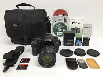 Canon EOS 7D 18.0MP Digital SLR Camera Kit w/28-135mm IS Lens w/EXTRAS