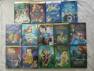 Disney Princess DVD's Pick Any 4 From Picture Cinderella Alice Snow White