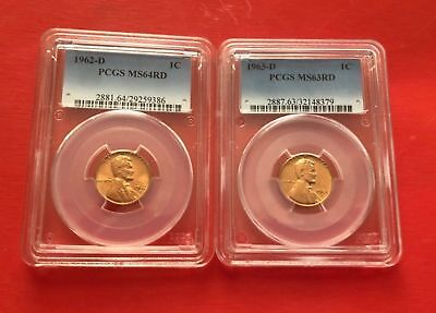 LOT OF TWO!!! 1962 D and 1963 D PCGS MS 64 and MS 63 Lincoln Memorial cent red