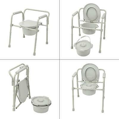 folding steel bedside commode   medical drive toilet seat portable chair lid new