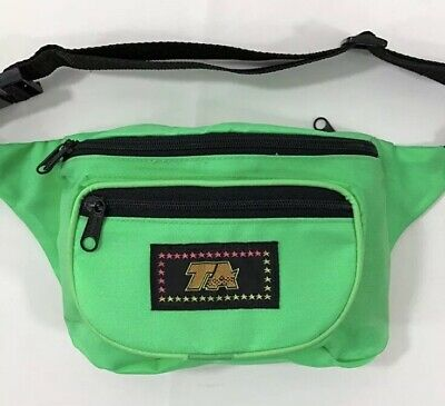 35e662f353df NEON GREEN FANNY Pack Waist Belt Bum Bag Nylon Adjustable Zipper 3 Pockets  EUC
