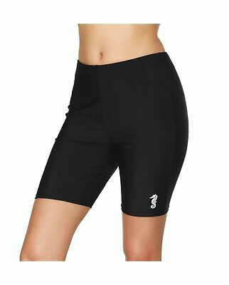 69f45168df anfilia Womens Long Board Shorts High Waist Swim Shorts Swimsuit Bottom