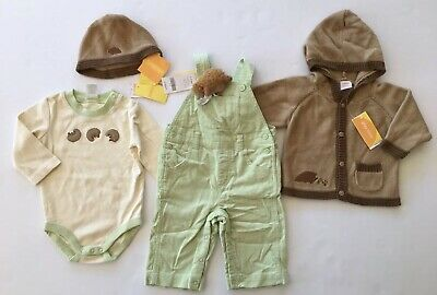 NWT Gymboree 3-6 months JUNGLE FRIENDS Grey Hooded Fleece SET