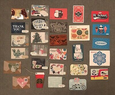 Cute Collectable Gift Cards (Lot Of 24) Starbucks Old Navy Target (no $ Value)