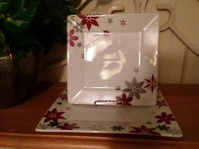 Food Network Linzer Star Square Dinner & Salad Plate White/Red/Gray~Porcelain