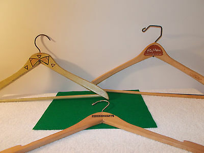 Lot of 3 Vintage Wooden Clothes Hangers; Green BowTie, Quick Silver, Roos Atkins