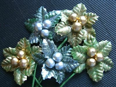 10 HOLLY SPRIGS Gold/Silver::: CHRISTMAS Party Tree Card Table DECORATIONS