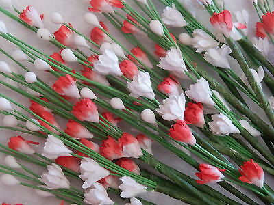 25 stems RED & WHITE MINI Flowers MP3D5RW:: Wedding DOLLS Cards PARTY Stationery
