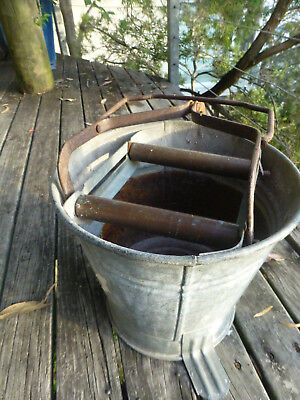 Vintage Pedal Wringer Mop Bucket Galvanised industrial look vase pot storage