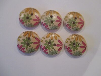 6 x 18mm Wooden BUTTONS Mixed Daisies Sewing or Scrapbooking No1045