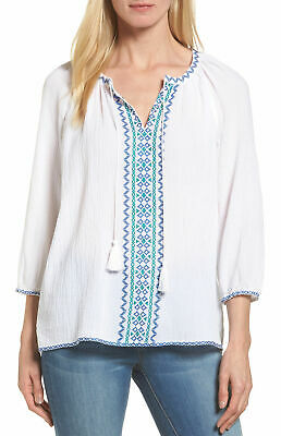 9fe5fa91be0cde NYDJ Womens Embroidered Tie-Neck Peasant Blouse X-Large Optic White Blue