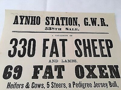 Rare ANTIQUE Victorian AYNHO STATION G.W.R 538th livestock auction sale poster