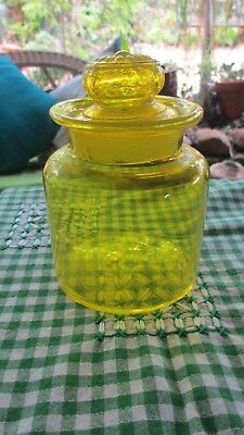 Vintage Yellow Glass Jar with lid