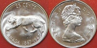 Brilliant Uncirculated 1967 Canada Lynx Silver 25 Cents From Mint's Roll