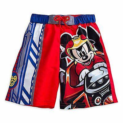 Disney Store Mickey Mouse Roadster Racers Boys Swim Trunks 50+ UV Size 2 New