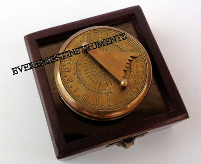 Vintage Maritime Brass Sundial Poem Compass Nautical Funtional With Wooden Box