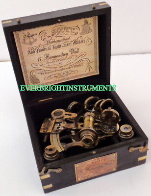 Brass Nautical Sextant Maritime Ship With Black J. Scout London Wooden Box