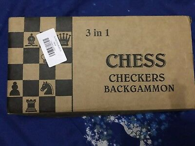 3 IN 1 Natural Wooden Folding Chess/Checkers/backgammon Game Set- Brand New