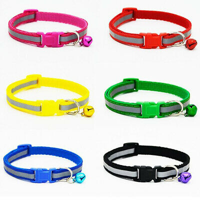 Reflective Pet Collar with Bell Small Adjustable Strap Nylon Puppy Kitten Dog#