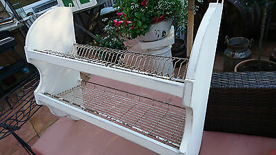 Tellerboard Art Deco altes Regal Küchenregal shabby chic mit Metall Gitter