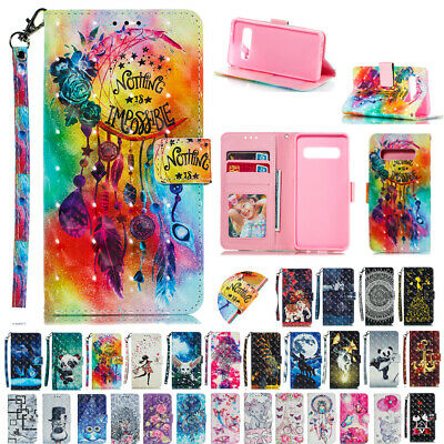 For Galaxy S10+ S10e S8 S9+ J2 J5 Pro Patterned Leather Wallet Stand Cover Case