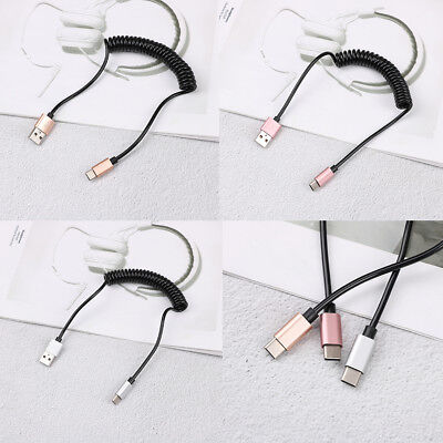 Spring coiled retractable USB A male to type c USB-C data charging cableWE