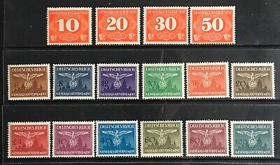 Germany: General Government 1940 Postage Due & 1943 Official issues MLH