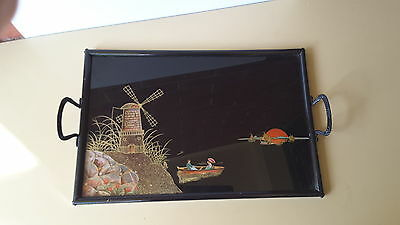 Serving Tray Ww2 Germany Hand Painted Windmill  Sunset  Antique Vintage