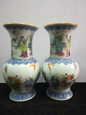 A Pair Of  Exquisite Chinese Famille Rose Porcelain Figures Vases Marks TongZhi
